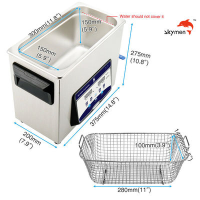 Skymen Ultrasonic Cleaner For Dental Equipment With Basket 200W Heater 1.72 Gallon